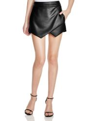 Aqua - Faux Leather Skort - Lyst