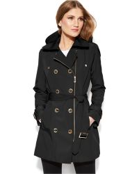 Calvin Klein Double-Breasted Asymmetrical-Zip Trench Coat - Lyst
