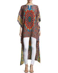 Tolani Mandira High-Low Printed Caftan Tunic brown - Lyst