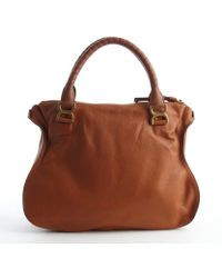 Chloé Cognac Calfskin Leather Marcie Large Shoulder Bag - Lyst