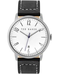 Ted Baker Mens Stainless Steel and Leather Watch - Lyst