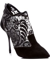 Nicholas Kirkwood Black Lace Embroidery Suede Bootie - Lyst