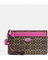 Coach Large Wristlet with Popup Pouch in Signature Coated Canvas - Lyst