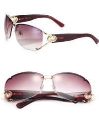 Gucci | Open Temple Oval Sunglasses | Lyst