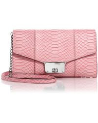 Milly Logan Python-Embossed Crossbody Bag pink - Lyst