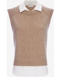 Brochu Walker | Exclusive Collar Combo Sleeveless Sweater | Lyst