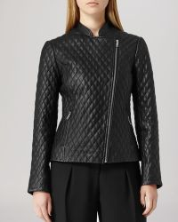 Reiss Jacket  Merlot Quilted Leather - Lyst