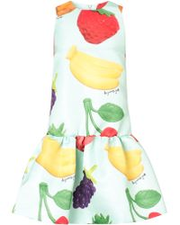 Au Jour Le Jour Fruit Print Satin Frill Dress - Lyst