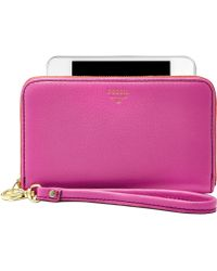 Fossil Sydney Leather Zip Phone Wristlet - Lyst