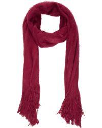 Barneys New York Red Fuzzy Scarf - Lyst