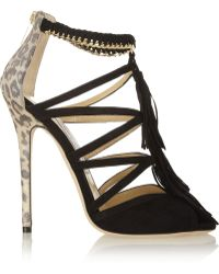 Jimmy Choo Flambe Tasseled Suede Sandals - Lyst