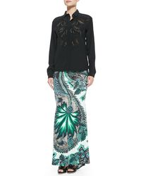 Roberto Cavalli Long Exotic Floral Floral-print Skirt - Lyst