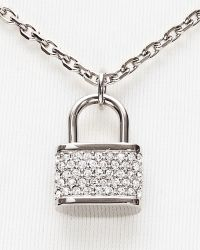 Michael Kors Padlock Charm Necklace 16 - Lyst
