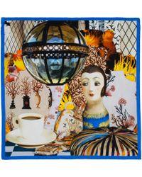 Maia Franceschi - Blue Espresso Print Silk Scarf - Lyst