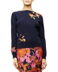 Zac Posen - Floral Applique Long-sleeve Sweater - Lyst