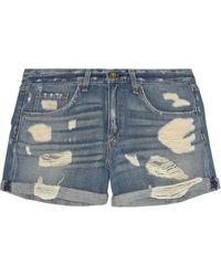 Rag & Bone The Boyfriend Distressed Low-Rise Denim Shorts - Lyst