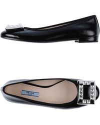 Prada Black Ballet Flats - Lyst