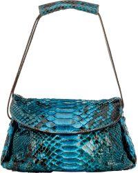 Zagliani - Python Sally Small Shoulder Bag-blue - Lyst