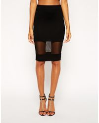 Asos Pencil Skirt with Sheer Panel - Lyst