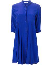 Cacharel Pleated Shirt Dress blue - Lyst