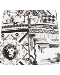 Versus  Anthony Vaccarello Printed Stretchcotton Twill Mini Skirt - Lyst