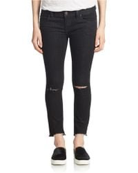 Free People Black Skinny Distressed Jeans black - Lyst