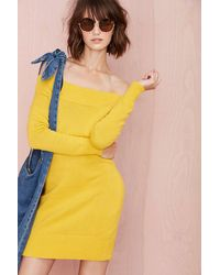 Nasty Gal Cold Shoulder Sweater Dress - Lyst