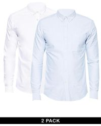 Asos Oxford Shirt 2 Pack in Long Sleeve Whiteblue Save 10 - Lyst
