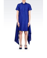 Emporio Armani Shirt Dress In Silk Poplin - Lyst