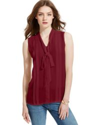 Tommy Hilfiger Sleeveless Pleated Bow Top - Lyst