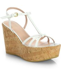 Stuart Weitzman Velocity Cork Wedge Sandals - Lyst