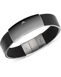 Emporio Armani Mens Stainless Steel Plaque Black Leather Bracelet - Lyst