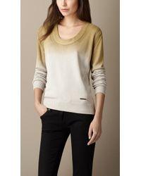 Burberry Scoop Neck Ombré Silk Sweater - Lyst