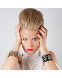 Anna Byers - Wide Perspex Cuff Black & Silver - Lyst