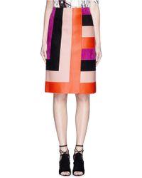 Emilio Pucci | Stripe Mix Leather Pencil Skirt | Lyst