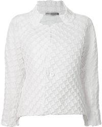 Issey Miyake Geometric Texture Jacket white - Lyst