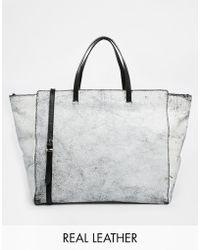 Asos Leather Crackle Handheld Bag - Lyst