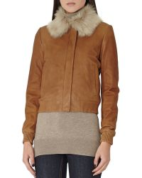 Reiss - Mabel Fur Collar Leather Bomber - Lyst