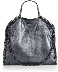 Stella McCartney Falabella Metallic Shaggy Deer Faux-Suede Fold-Over Tote - Lyst