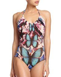 Jean Paul Gaultier One-Piece Butterfly-Print Halter Swimsuit multicolor - Lyst