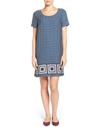 Pleione | Back Cutout Border Print Shift Dress | Lyst