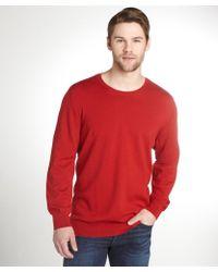 Burberry Brit Red Merino Wool And Nova Check Crewneck Sweater - Lyst