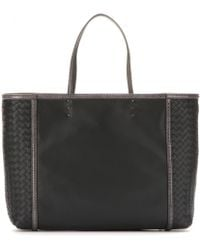Bottega Veneta Leather Shopper with Snakeskin Trim - Lyst