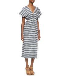 MICHAEL Michael Kors Short-Sleeve V-Neck Printed Long Dress - Lyst