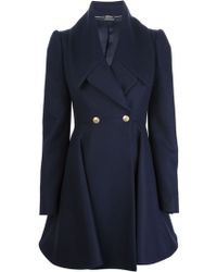 Alexander McQueen Flared Double Breasted Coat - Lyst
