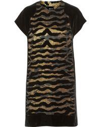 Just Cavalli Flocked Velvet Mini Dress - Lyst