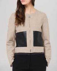 Sandro Jacket - Virgie Leather Pocket - Lyst