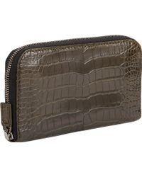 Zagliani Crocodile Ziparound Wallet - Lyst