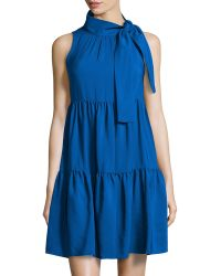 RED Valentino Tie-Neck Pleated Sleeveless Dress - Lyst