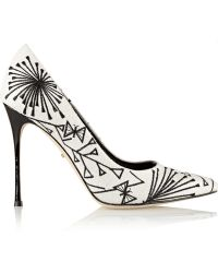 Sergio Rossi Embroidered Canvas Pumps - Lyst
